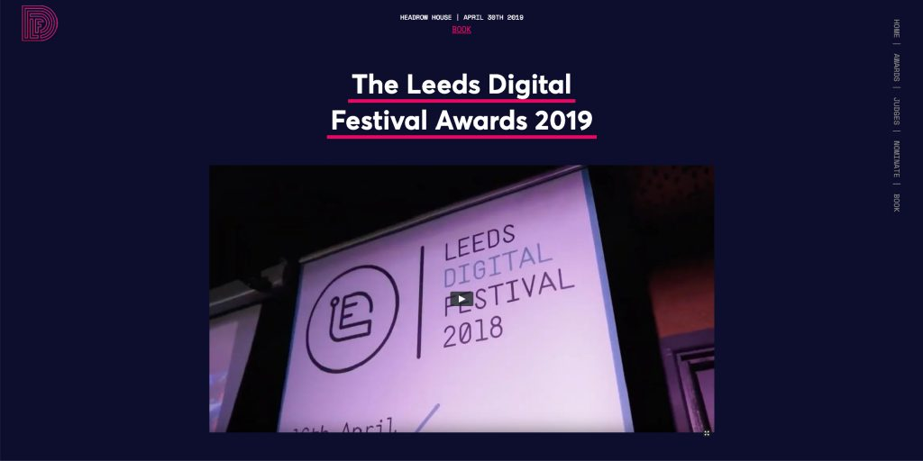 screenshot of the Leeds Digital Awards website