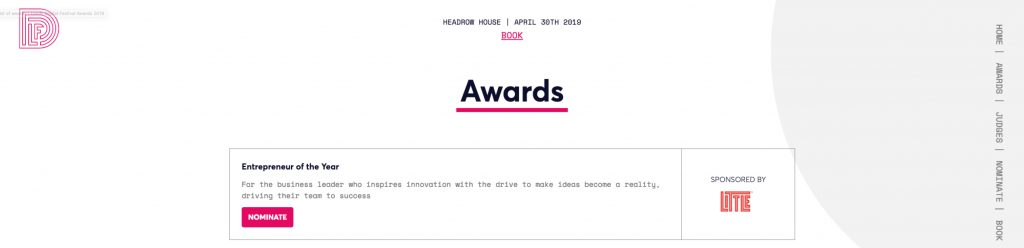 Screenshot of the award being sponsored by LITTLE at this year's Leeds Digital Festival Award website